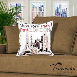 New York, Paris London Kruissteekkussen - Tissu de Marie