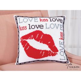 Love Kiss Love Kruissteekkussen - Tissu de Marie