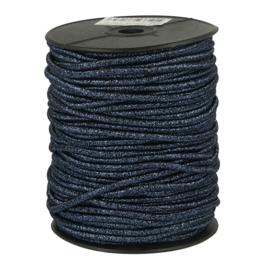 Blauw glitter koord elastiek 3mm