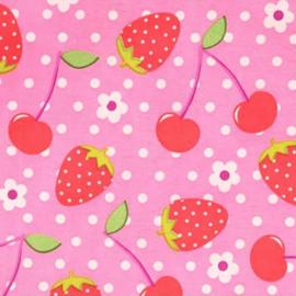 Aardbeien en Kersen roze stof - Tissu de Marie 100% polyester