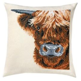 Scottish Cow / Schotse Hooglander Telpatroon kruissteekkussen - Permin