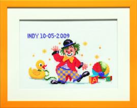Geboortetegel Gekke vrolijke clown Aida Telpakket Pako