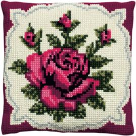 Klassiek rode roos  voorbedrukt kruissteekkussen - Pako