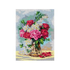 Exquisite Victorian Roses Bouquet Paul de Longpre Pre-Printed Canvas Deco-Line