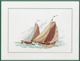 Borduurpakket zeilschip Skutsje, een Friese tjalk boot. Pako