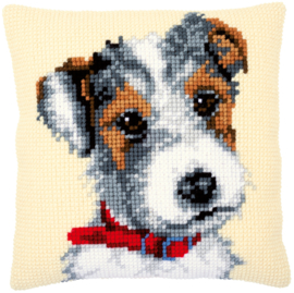 Dog with Red Collar Cushion Vervaco