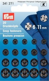 6 -11mm Zwarte Aannaaidrukknopen Prym