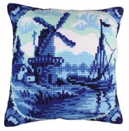Delftware Voorbedrukt Kruissteekkussen Collection D'Art