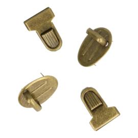 Tassluiting ribbel 2.5x1.8cm Oud goud