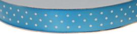 Licht Blauw 15mm Dubbelzijdig Satijnband met Witte Stippen