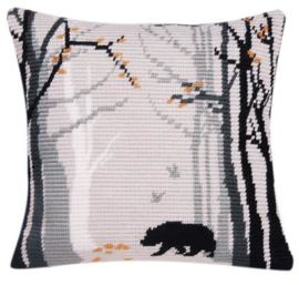 Bruno Angled Clamping Stitch Cushion Canvas La Maison Victor