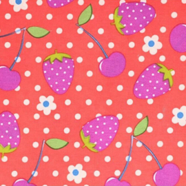 Aardbeien en Kersen rode stof - Tissu de Marie 100% polyester