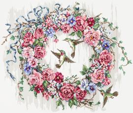 Hummingbird Wreath Aida borduurpakket - letistitch