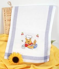 Winnie the Pooh theedoek  Blauw Aida telpakket Vervaco