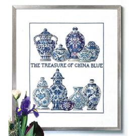 China blue aida borduurpakket - Permin of copenhagen