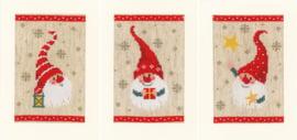Kerstkabouters set van 3 Kerstkaarten Vervaco