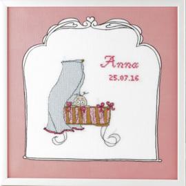Borduurpakket Geboortetegel wieg: Anna Pako