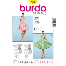 7556 Jurk met Mouw Variatie Burda Style Geel Maat 32 - 44