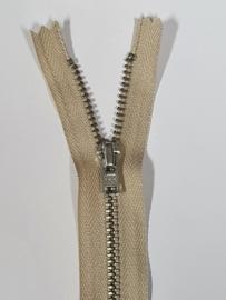 572 Broekrits Beige Fijn Zilver 16cm YKK