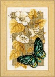Miniatuur vlinders en bloemen Aida telpakket - Vervaco