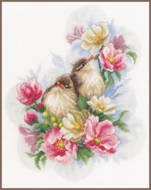 Kleine vogeltjes op bloementak Eavenwave telpakket Lanarte