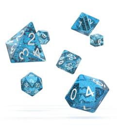 Licht Blauwe Glitter RPG Dobbelstenen set Oakie Doakie