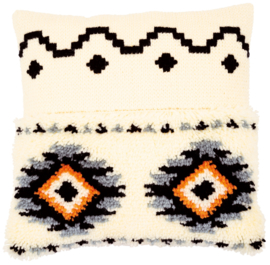 Ethnic Print Latch Hook Cushion Vervaco
