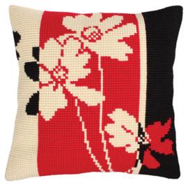 Red and Black voorbedrukt Kruissteekkussen Collection D'Art