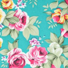 Aqua bloemenstof Tissu de Marie 100% polyester