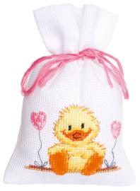 Geboorte eendje kruidenzakje borduurpakket - Vervaco