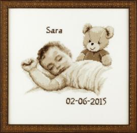 Baby met beertje sepia Aida Telpakket Pako