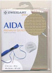 Taupe Voorgesneden Aida 20ct - 8kr/cm Zweigart 48x53cm