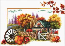 Autumn Farm Voorbedrukt borduurpakket - Needleart World
