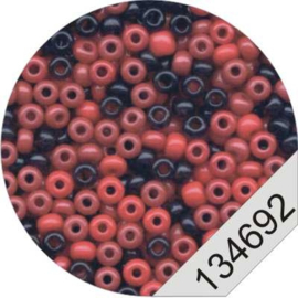 4692 Red/Black Rocailles Beads Le Suh