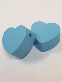 Houten Hart Lichtblauw 20mm x 18mm