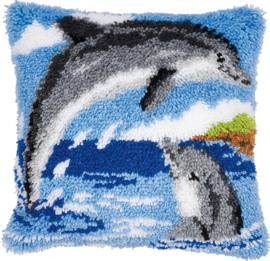 2 Dolfijnen Knoopkussen Vervaco