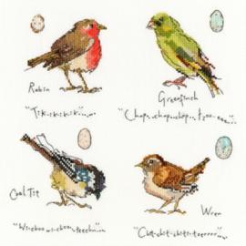 Garden Birds 1 by Madeleine Floyd Aida Borduurpakket Bothy Threads