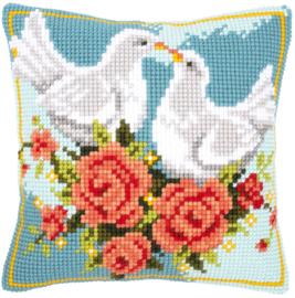 Verliefde duiven Kruissteekkussen - Vervaco