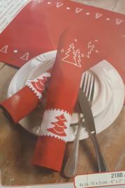 Kerstbomen  set van 4 voorbedrukte servetten en Aida servetringen - Vervaco