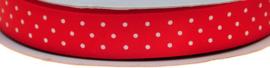 Rood 15mm Dubbelzijdig Satijnband met Witte Stippen