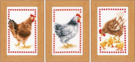 Kippen - Miniatuur Aida borduurpakket set van 3 - Vervaco