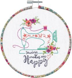 Sew Happy Voorbedrukt borduurpakket met borduurring - Dimensions
