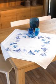 Blauwe vlinders Voorbedrukt tafelkleed Vervaco