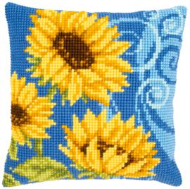 Zonnebloemen op Blauw Kruissteekkussen Vervaco