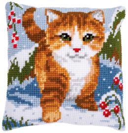 Kat in de sneeuw Kruissteekkussen Vervaco