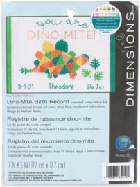 Dino-Mite Birth Record - Dino-mite geboorte tegel- Borduurpakket - Dimensions