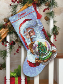 Santa's Snow Globe Stocking Aida telpakket Dimensions