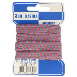 Roze/ groen/ blauw zigzag elastiek 10mm