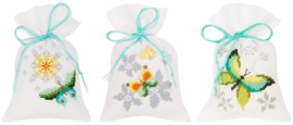 Vlinders en bloemen Aida kruidenzakjes set van 3 Vervaco
