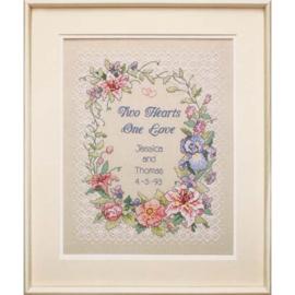 Two Hearts Wedding Voorbedrukt borduurpakket - Dimensions